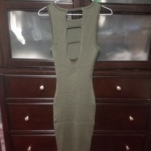 Lulu's green knit backless dress